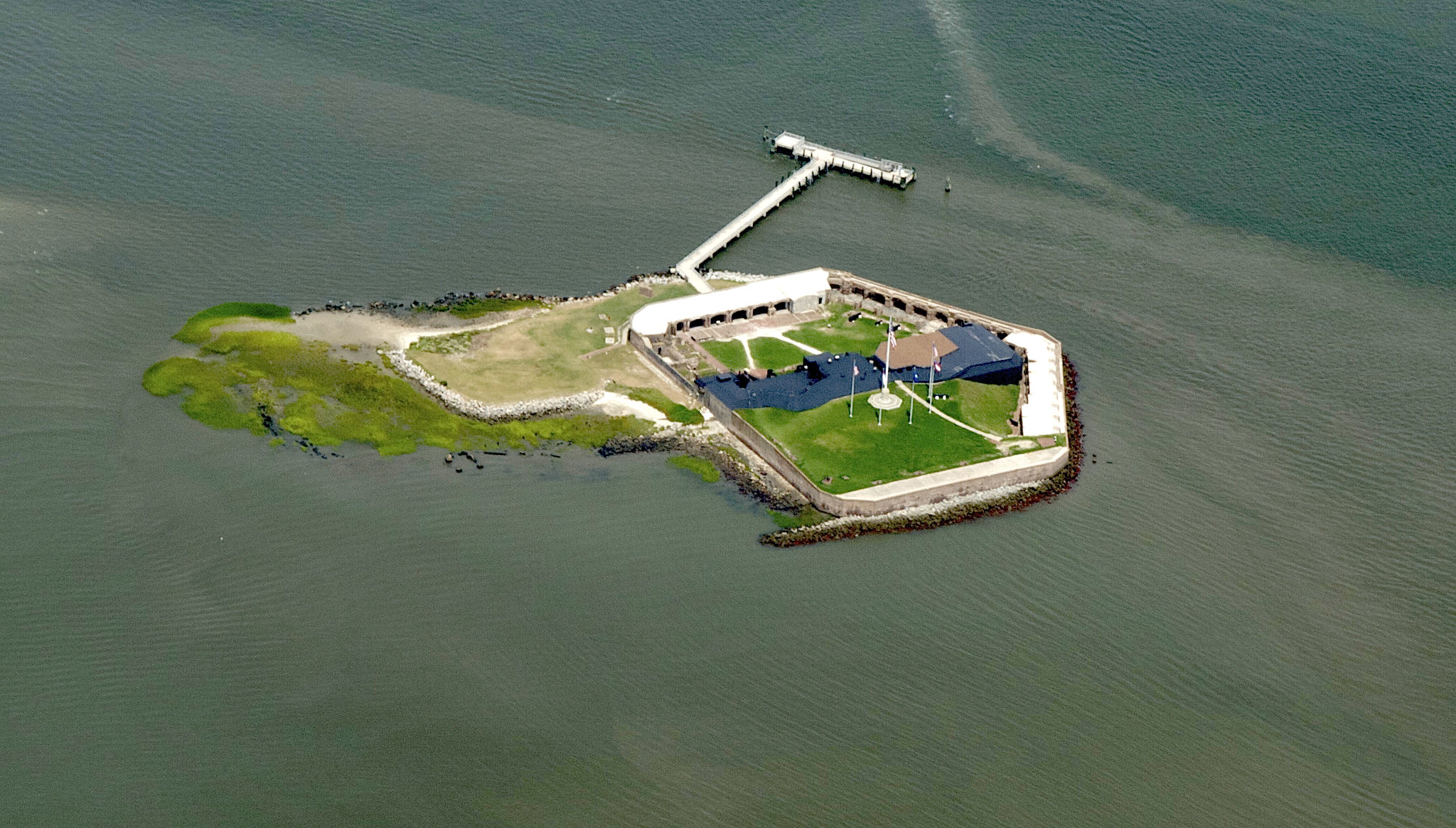 aerial view of fort sumter sc in charleston harbor