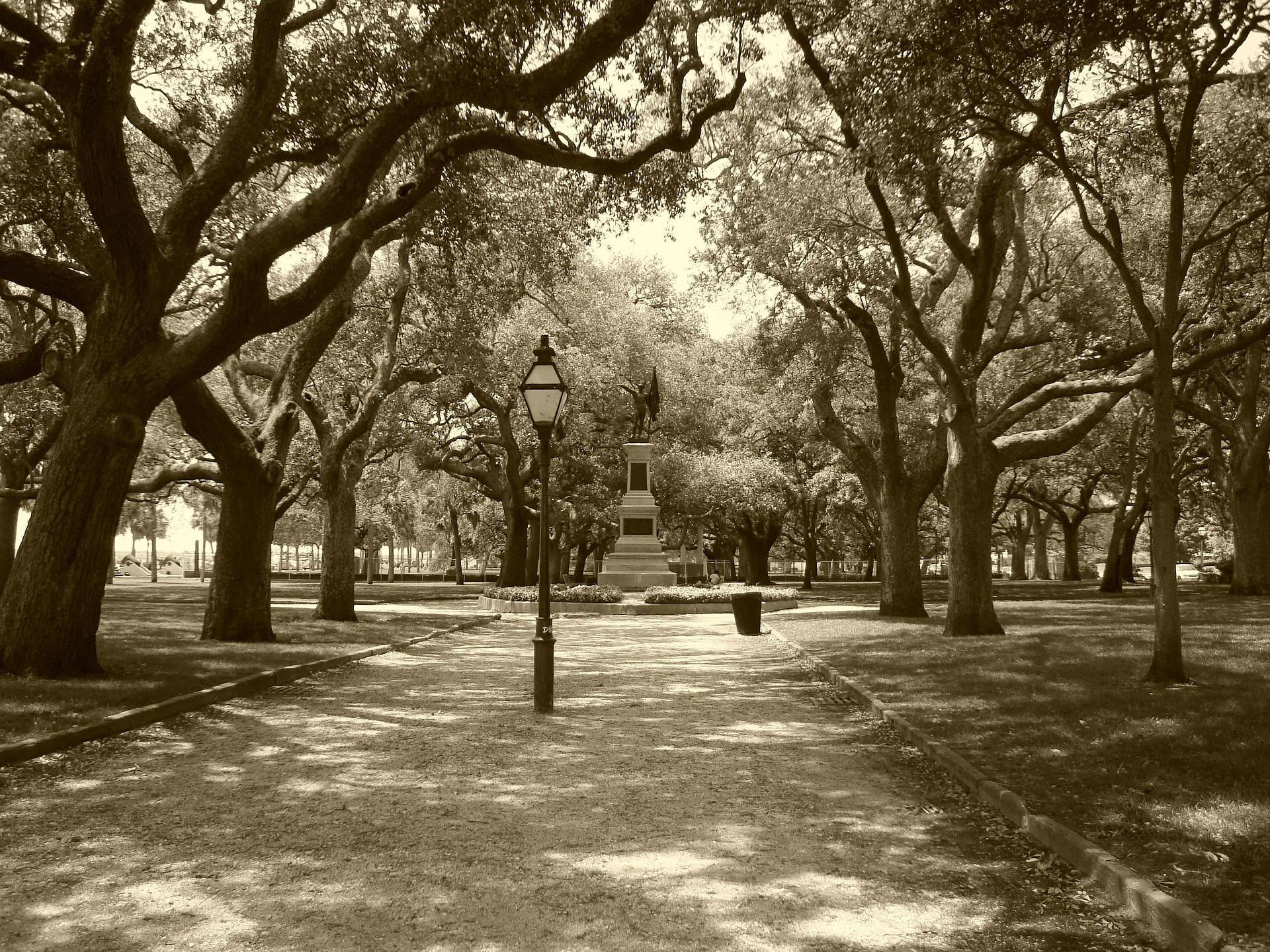A view of the central walk and central monument at white point gardens