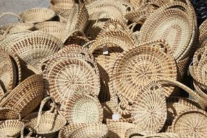 traditional sweetgrass baskets are in abundance at the historic Charleston City Market