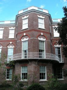 side of the nathaniel russell house in downtown charleston sc