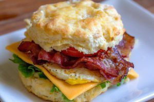 sandwich made with a Southern biscuit, easy to find for Sunday brunch in Charleston, SC