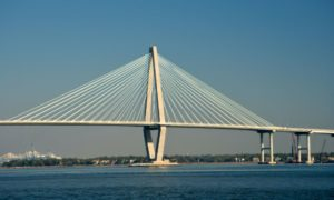 view of the arthur ravenel jr bridge from waterfront park charleston sc
