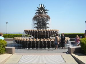 the pineapple fountain in waterfront park, near rainbow row in charleston sc