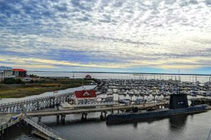 view of the charleston harbor resort and marina, one of the best oceanfront hotels in charleston sc, from the top of the uss yorktown