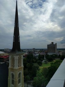 another view of marion square from the rooftop restaurant at the dewberry hotel in charleston sc
