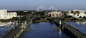 view from the harborview rooftop restaurant in charleston sc